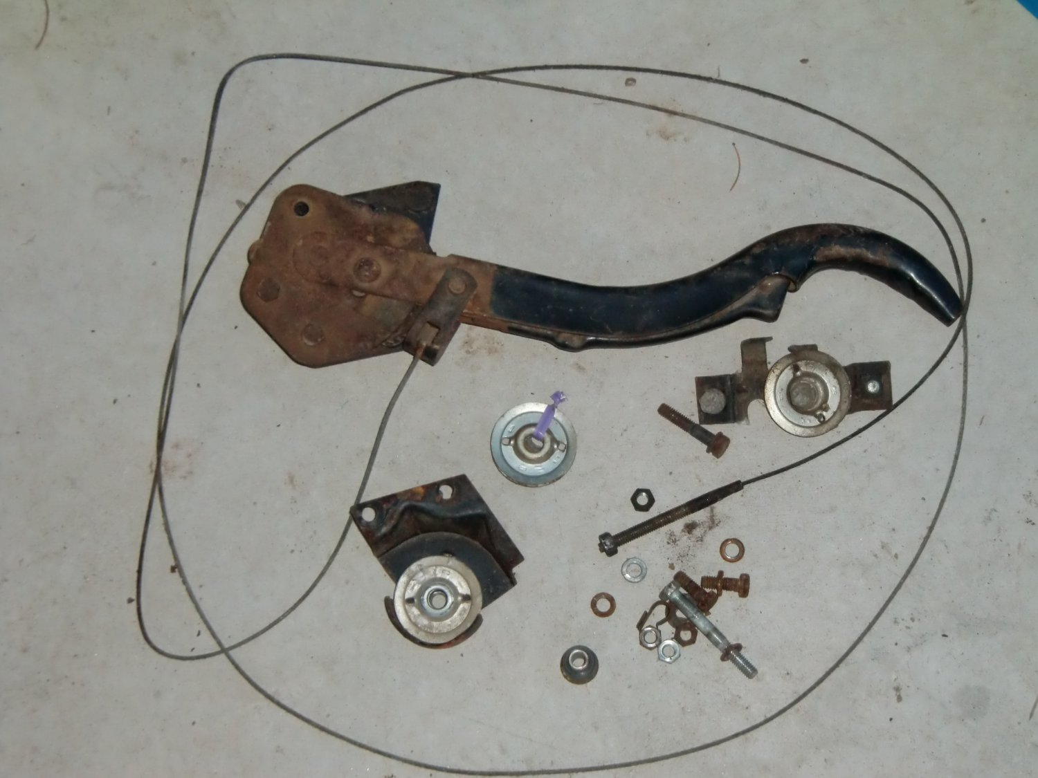 Parking/Hand Brake, cable, pulleys used 1960 Chevrolet Corvair, model 700, 4 dr