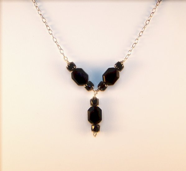"Jet Black Swarovski ""Y"" necklace"