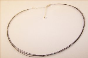 Long Four Strand Black Wire Adjustable Necklace for Pendants