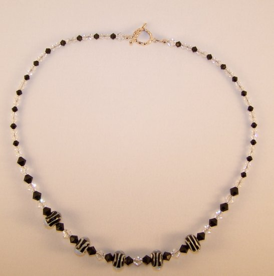 "Black Tie Affair - Black and White Swarovski Crystal 19"" Necklace"