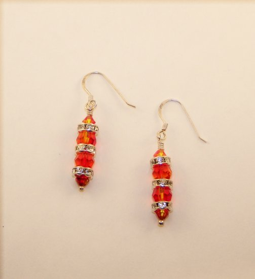 Swarovski Crystal Round Column Fire Opal Earrings