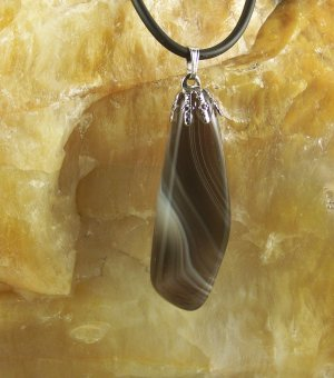 Black and White Botswana agate pendant