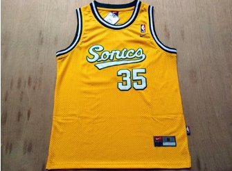 reputable site fe60f b855c Men's Seattle Supersonics #35 Kevin Durant Yellow Jersey Customized