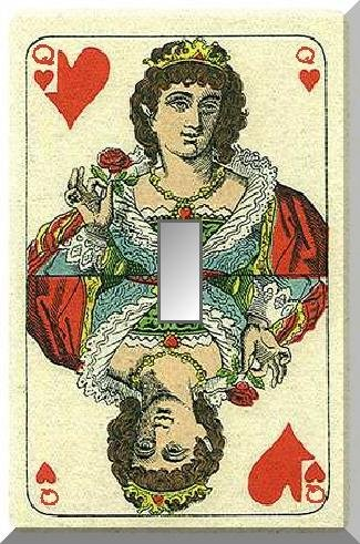 Ornate Queen of Hearts Vintage Playing Card Single Switch Plate
