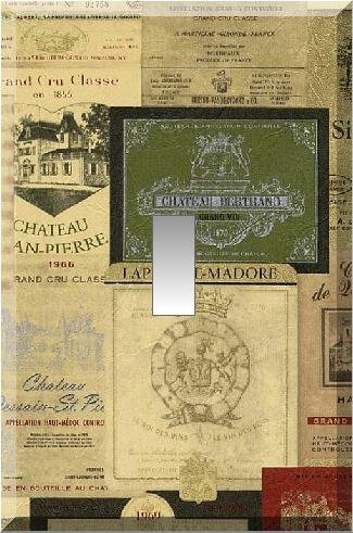 Vintage Wine Label Collage Single Switch Plate
