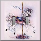 Colorful Gilded Carousel Horse Ribbons Jewels Double Switch Plate
