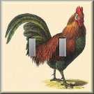 Vintage Illustration of Colorful Rooster Double Switch Plate