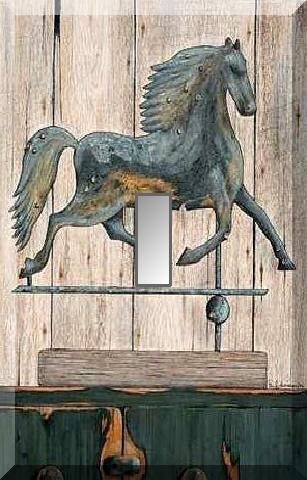 Rustic Running Horse Weathervane Verdigris Single Switch Plate