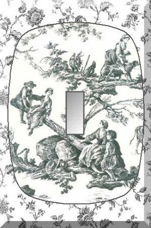 French Countryside Scene Black White Toile Single Switch Plate