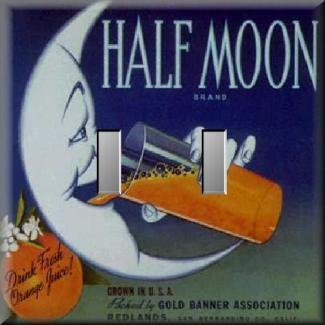 Half Moon Brand Oranges Vintage Fruit Crate Label Double Switch Plate