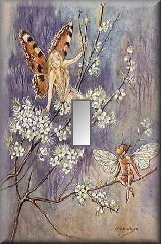 Fairy and Pixie on Blossoming Branches Single Switch Plate