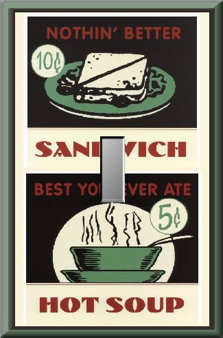 Soup Sandwich Retro Look Diner Signs Single Switch Plate