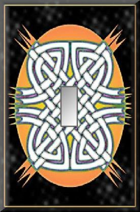 Celtic Knots Melon Oval Black Background Single Switch Plate