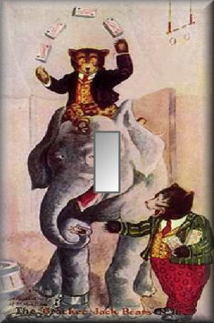 Cracker Jack Bears Circus Elephant Single Switch Plate