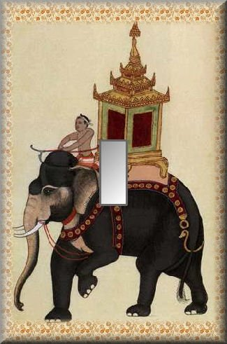 East Indian Elephant Ornate Taxi Single Switch Plate