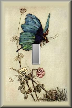 Butterfly Winged Fairy Flying Over Wildflowers Single Switch Plate