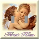 Two Winged Cherubs Share First Kiss Double Switch Plate