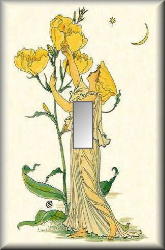 Yellow Primrose Fairy with Blossoms Single Switch Plate