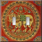 East Indian Elephant Tapestry Double Switch Plate