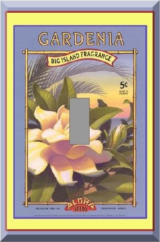 Vintage Tropical Gardenia Flower Seed Packet Single Switch Plate