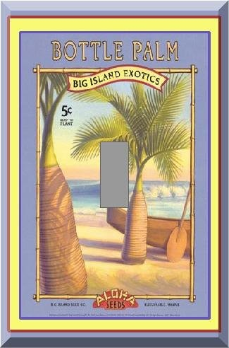 Vintage Tropical Palm Tree Seed Packet Single Switch Plate