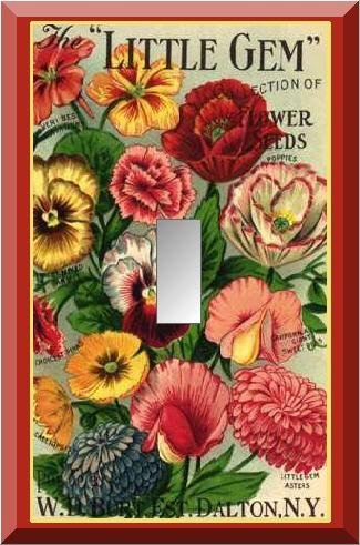 Vintage Little Gem Collection Flower Seed Packet Switch Plate