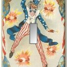 1880s Postcard Uncle Sam Firecrackers Single Switch Plate #1