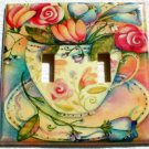 Roses in Pretty Floral Teacup Double Switch Plate