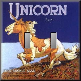 Vintage Unicorn Fruit Crate Label Double Switch Plate