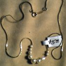 "16""  Silver Necklass w/9beads  $5.00"