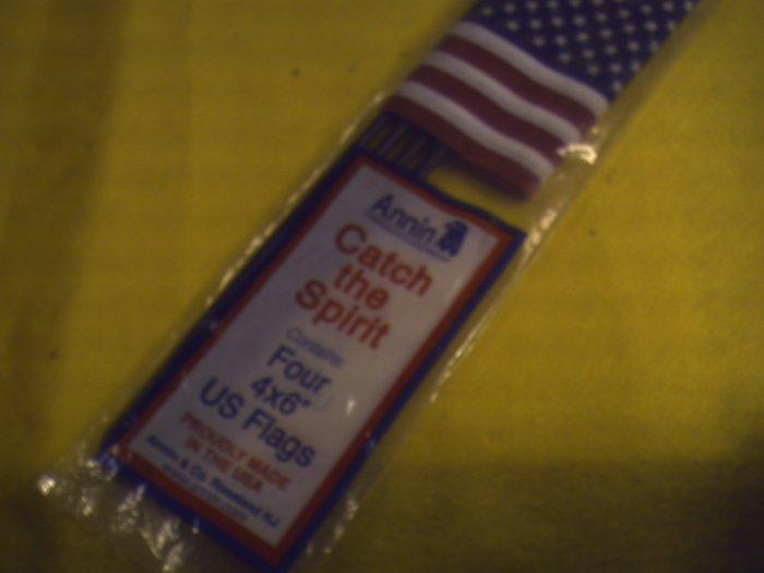 """1pk  4 ea. US Flags.4 X 6""""    (002)"""