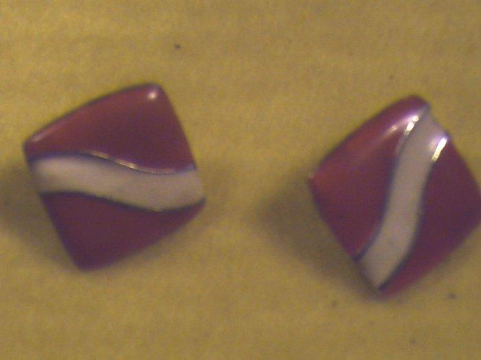 Silver, Red n White Pierced Earrings