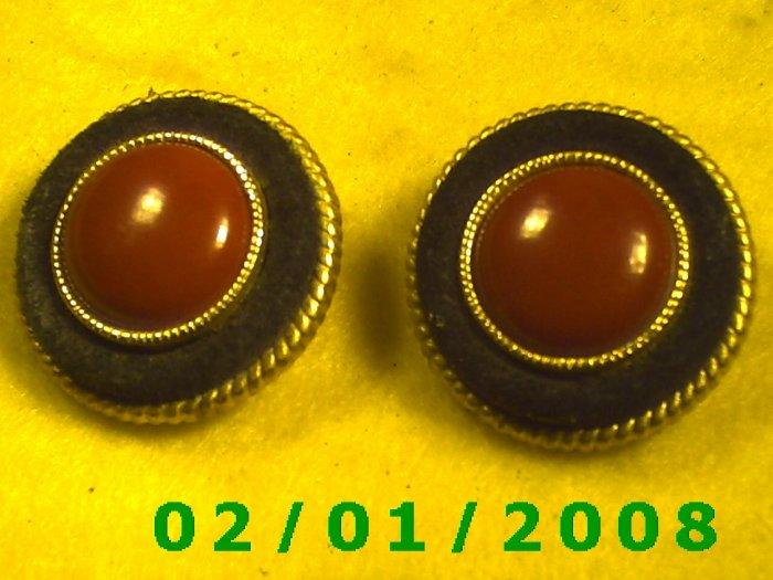Black n Red Clip On Earrings