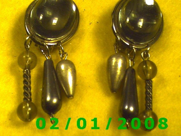 Silver w/Crystal Clip On Earrings