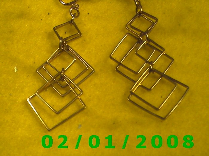 Gold Squares Clip On Earrings