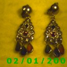 Gold w/Emerald, Sapphire n Ruby Clip On Earrings