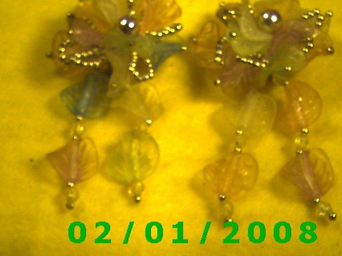 Silver w/Beads n Petals, Flower Clip On Earrings