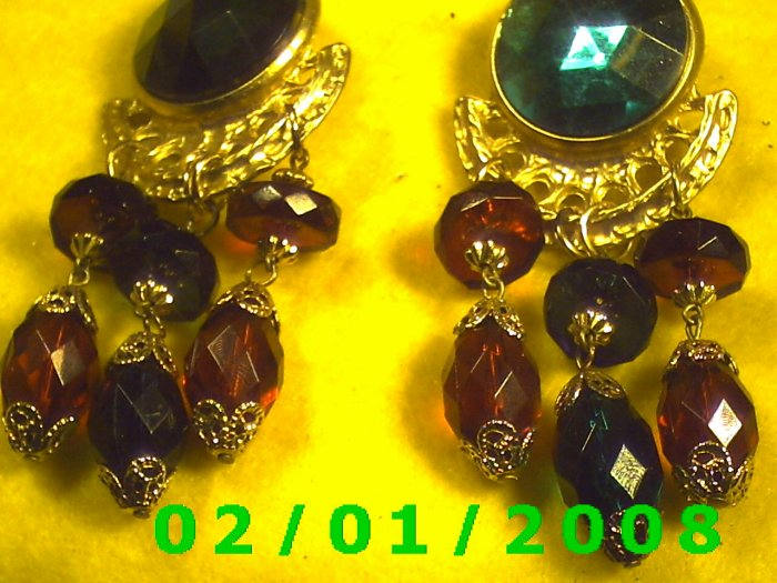 Gold w/Emerald, Sapphire n Ruby Clip On Earrings