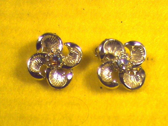 Silver Earrings Clip On w/Stone  (008)