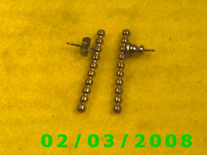 Gold Beaded Rod Pierced Earrings