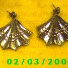 Silver Fan  Pierced Earrings