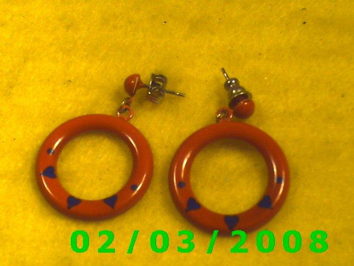 Red Hoop  Pierced Earrings