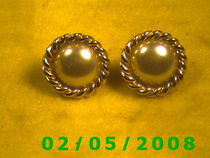 Gold n Pearl Pierced Earrings