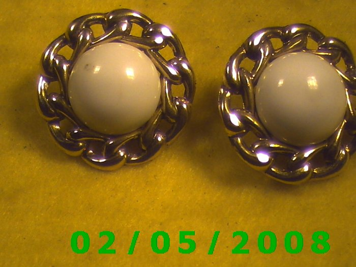 Gold n White Pierced Earrings