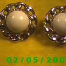 Gold n White Pierced Earrings