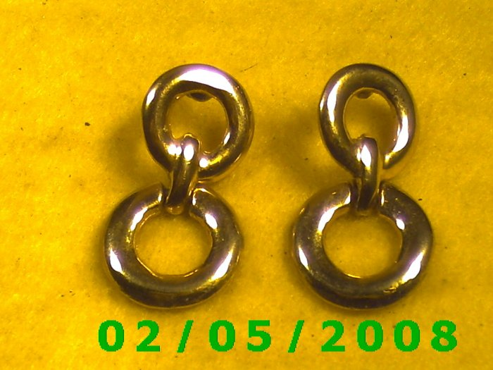 Gold Circles Pierced Earrings