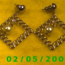 Gold Squares n Pearl Pierced Earrings