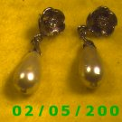 Rhinestones n Pearl Drops Pierced Earrings  (035)