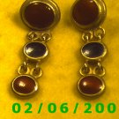 Gold Dangle w/Red n Black Buttons Pierced Earrings