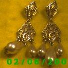 Gold Filigree w/Pearl Drops Pierced Earrings